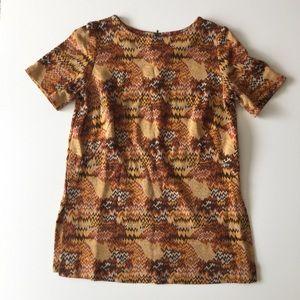 Vintage 70s Tan Chevron Tunic Top Shirt Size L XL